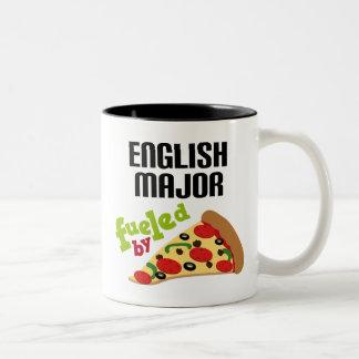 English Major Gift (Pizza) Two-Tone Coffee Mug