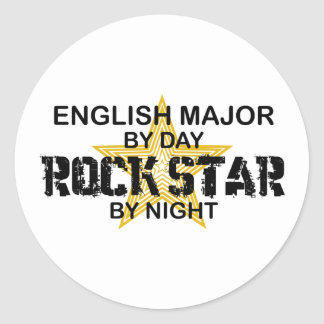 English Major Rock Star Classic Round Sticker
