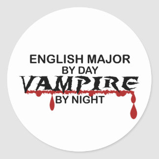 English Major Vampire by Night Classic Round Sticker