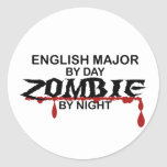 English Major Zombie Round Stickers