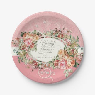 English Manor Vintage Antique Roses Floral Bouquet Paper Plate