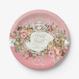 English Manor Vintage Rose Tea Party Bridal Shower Paper Plate  sc 1 st  Zazzle & English Garden Plates   Zazzle