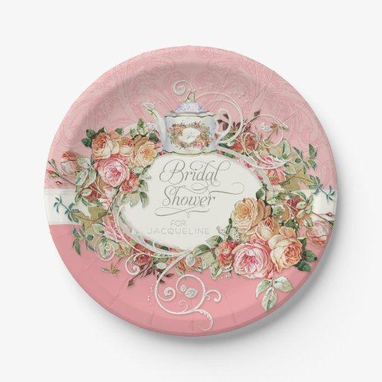English Manor Vintage Rose Tea Party Bridal Shower Paper Plate ...
