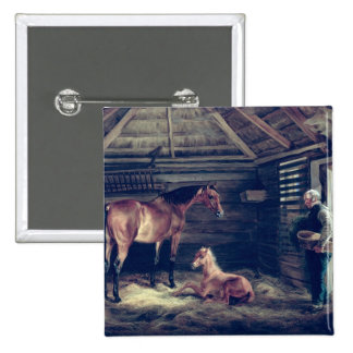 English Mare With Her Foals, 1833 2 Inch Square Button