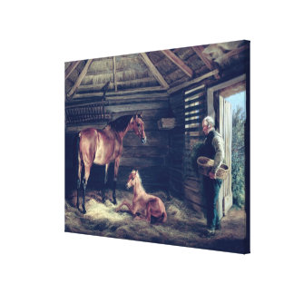 English Mare With Her Foals, 1833 Canvas Print