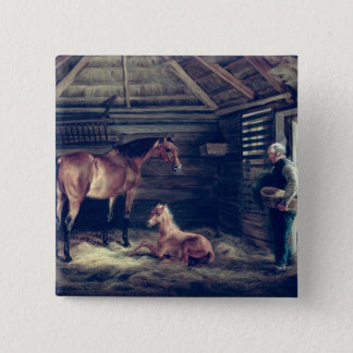 English Mare With Her Foals, 1833 Pinback Button