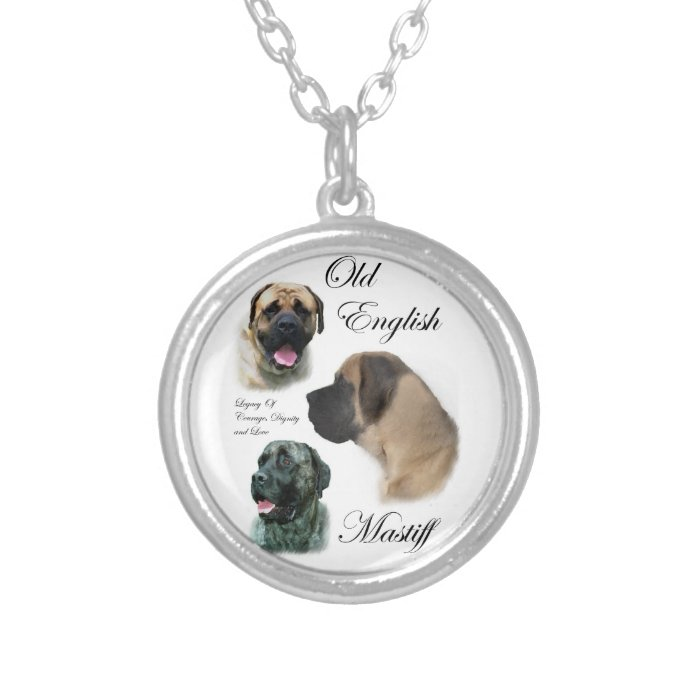 English Mastiff Art Silver Plated Necklace