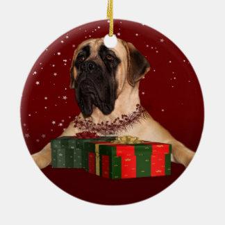English Mastiff Christmas Ceramic Ornament