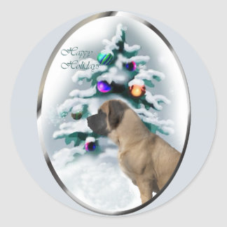 English Mastiff Christmas Classic Round Sticker