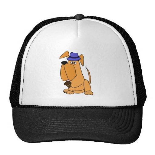 English Mastiff Dog Eating Ice Cream Cone Cartoon Trucker Hat