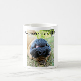 English Mastiff dog smiling - cup