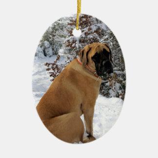 "English Mastiff dog ""Snow Pose"" photo Ceramic Ornament"