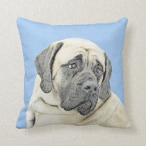 English Mastiff (Fawn) Painting - Original Dog Art Throw Pillow