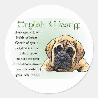 English Mastiff Heritage of Love Classic Round Sticker