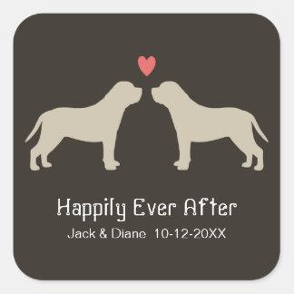 English Mastiff Silhouettes with Custom Text Square Sticker