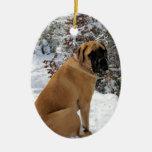 """English Mastiff """"Snow Pose"""" Ceramic Ornament"""