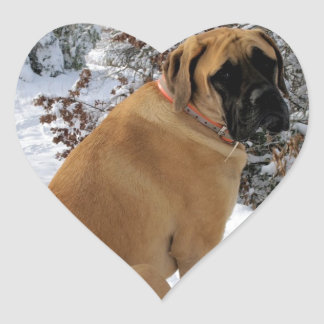 "English Mastiff ""Snow Pose"" Heart Sticker"