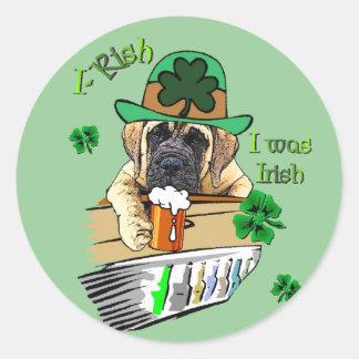 English Mastiff St Patricks Day Classic Round Sticker