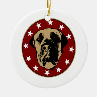 English Mastiff Stencil Emblem Ceramic Ornament