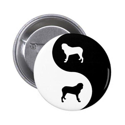 English Mastiff Yin Yang Button