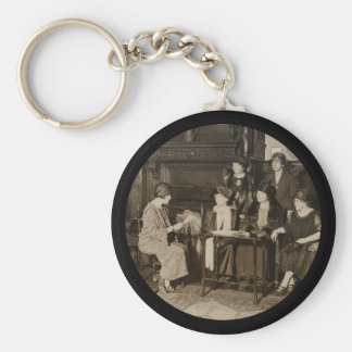 English Members Meet American NWP Basic Round Button Keychain