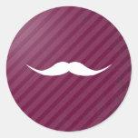 English Mustache Classic Round Sticker