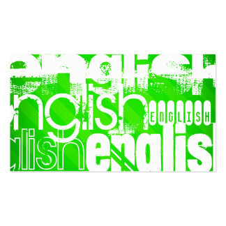 English; Neon Green Stripes Business Card