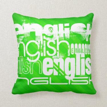 English; Neon Green Stripes Pillows