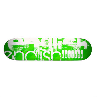 English; Neon Green Stripes Skateboard Deck