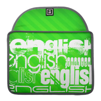 English; Neon Green Stripes Sleeve For MacBook Pro