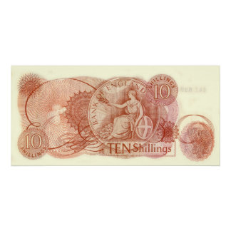 English Old Ten Shilling Note Huge Canvas Print