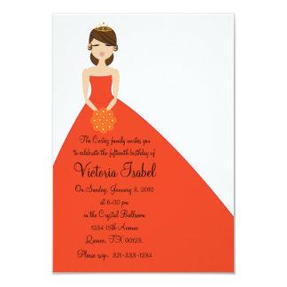 """english ORANGE PRINCESS quinceañera invitation 3.5"""" X 5"""" Invitation Card"""
