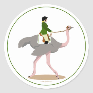 English Ostrich Classic Round Sticker