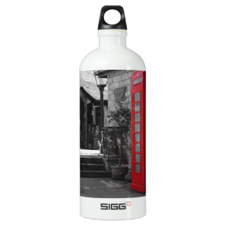 English Phone Booth Aluminum Water Bottle