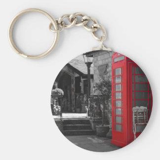 English Phone Booth Basic Round Button Keychain