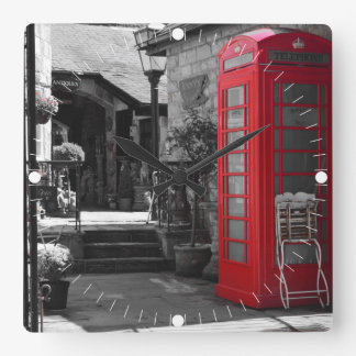 English Phone Booth Square Wall Clock