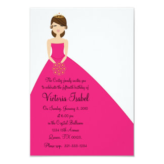 "english PINK PRINCESS quinceañera invitation 3.5"" X 5"" Invitation Card"