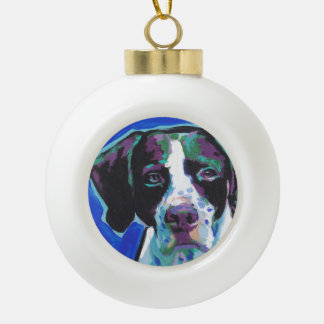 English Pointer Bright Colorful Pop Dog Art Ceramic Ball Christmas Ornament