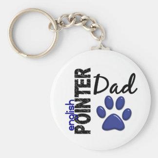 English Pointer Dad 2 Basic Round Button Keychain