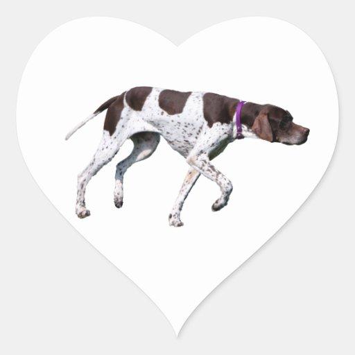 English Pointer dog beautiful photo, gift Heart Sticker