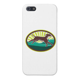 English Pointer Dog Fetching Stick Oval Retro Cover For iPhone SE/5/5s