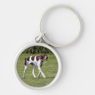 English Pointer dog keychain, gift idea Silver-Colored Round Keychain