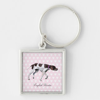 English Pointer dog keychain, gift idea Silver-Colored Square Keychain