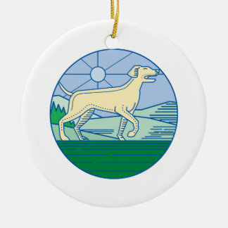 English Pointer Dog Mono Line Ceramic Ornament