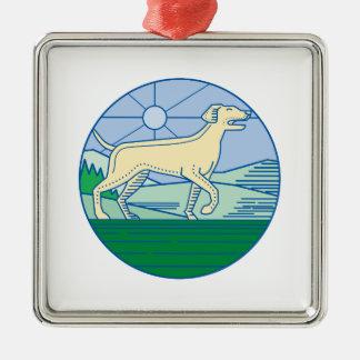 English Pointer Dog Mono Line Metal Ornament