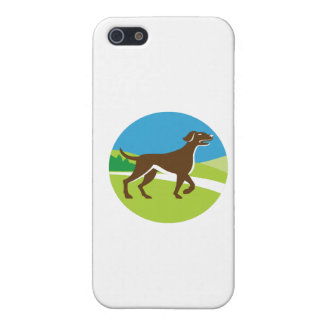 English Pointer Dog Pointing Up Circle Retro Cover For iPhone SE/5/5s