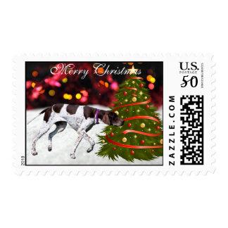 English Pointer dog snow tree custom Christmas Postage