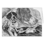 English Pointer Dogs Drawing by Kelli Swan Greeting Card