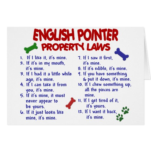 ENGLISH POINTER Property Laws 2 Greeting Cards