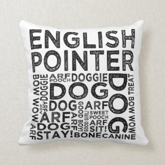 English Pointer Typography Throw Pillow